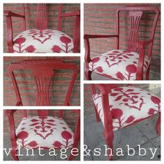Silla pintada en color teja y retapizada con tela de Carole Nevin Designs...