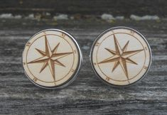Compass Cufflinks. Laser Engraved. Wedding, Men's, Groom Gift, Fifth Anniversary Gift, Valentine's Day. Wood. Groomsmen, Compass Rose by TreeTownPaper on Etsy