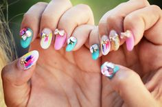 Whimsical colourful nails with bright feather accents - Nail Art Love | Nail Art Love
