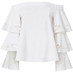 Intermix Women's Jiho Off Shoulder Tiered Sleeve Top (€260) ❤ liked on Polyvore featuring tops, white, off shoulder long sleeve top, eyelet top, long sleeve pullover, off shoulder tops and long sleeve tops
