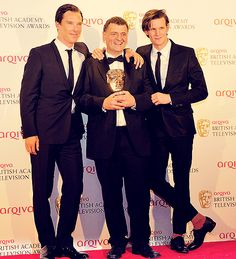 Smith and Cumberbatch presenting Moffat with a special BAFTA. Extra points to the Doctor for those pants. Mmm-hmm.