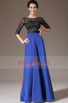 2014 Two-Tone Scoop Neckline Beaded Bodice A Line Prom Dress With Flowing Chiffon Skirt
