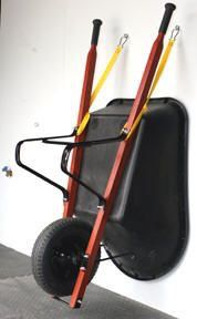 Handy-Hooker Wheelbarrow Hanger, hang and store wheelbarrows from any wall or ceiling, drop-proof storage, made in USA Mud Room Garage, Garage Shed, Diy Garage, Garage Tools, Garage Workshop, Garage Tool Storage, Shed Storage, Storage Ideas, Wheelbarrow Storage