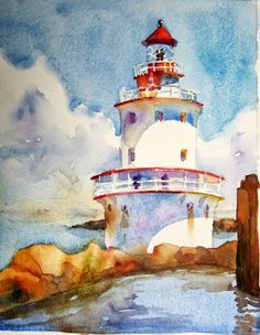 """""""Brandywine Light"""" - by Laura's Watercolors Watercolor Sea, Watercolor Pictures, Watercolor Landscape, Watercolour Painting, Painting & Drawing, Watercolours, Art Aquarelle, Lighthouse Painting, Watercolor Techniques"""