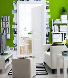 ikea living room. green wall paint