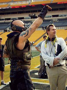 Tom Hardy & Christopher Nolan on the set of The Dark Knight Rises
