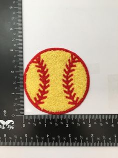 Chenille Softball Iron on Applique//Embroidered Patch Yellow//Red 3