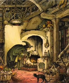 """Witch over her cauldron by Philippe Fix {from """"The Book of Giant Stories"""" by David L. Harrison} Cloud 109 blogspot ~ Halloween"""