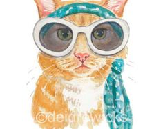 Cat Watercolor 8x10 PRINT Cool Cat Outer Space by WaterInMyPaint