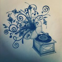 i am in love with this tattoo idea...i want a record player to be my next tattoo...and this might be what i base it off of.