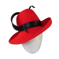 44327eb1f8c 1960s Red Mr John Fedora Hat with Leather Feather Detail