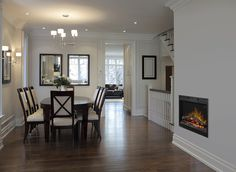 """Prism Linear 26"""" Electric Firebox in Dining room"""