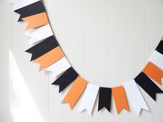 Halloween Flag Garland / Halloween Decor/ Black White Orange Bunting / Flag…