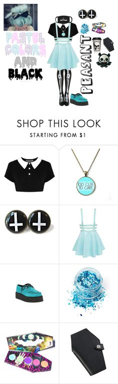 """Blue Pastel Goth"" by emobandgeekforlife ❤ liked on Polyvore featuring Killstar, T.U.K., In Your Dreams, LunatiCK Cosmetic Labs and pastelgoth"