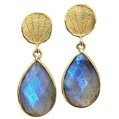 Barbara Heinrich Faceted Labradorite Gold Petal Top Handmade Dangle Earrings | From a unique collection of vintage dangle earrings at https://www.1stdibs.com/jewelry/earrings/dangle-earrings/