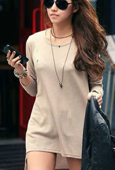 Vogue Cotton O Neck Long Sleeves Solid Apricot T-shirt