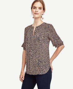 Image of Spotted Ruffle Sleeve Top