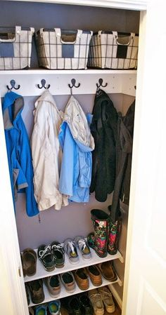 Entryway Coat Closet Makeover -- would be good for mudroom closet Laundry Closet Makeover, Closet Redo, Hallway Closet, Closet Bar, Closet Ideas, Closet Mudroom, Closet Makeovers, Shoe Storage Hall Closet, Shoe Storage In Cupboard