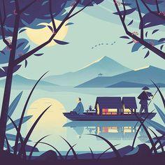 Mid-autumn. . . . . #illustration #character #character #graphic #moon #boat #lake #adobeillustrator #vector #digitalart #drawing #editorial