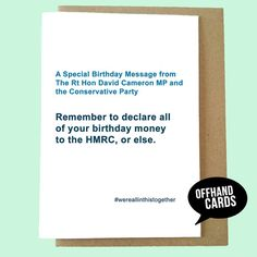 Items Similar To A Birthday Card From David Cameron Funny Memo Style Politics Humour British Tory Government On Etsy