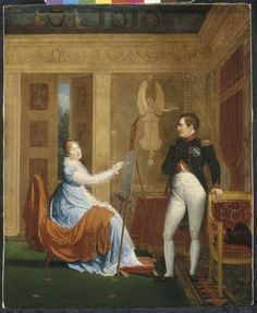 Alexandre Menjaud, Marie-louise faisant le portrait de son mari Napoleon Ier, 1810, Huile sur toile, 72 x 59 cm, Musee national du chateau, Fontainebleau