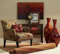 Fall colors translated into the Pier 1 Liliana Armchair in Daisy Gold
