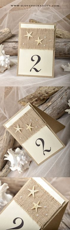 Beach Wedding Table Number Card #beachwedding #destinationwedding #starfish