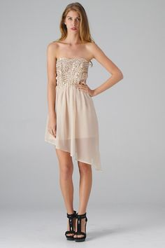 Asymmetric Dressw with Beaded Strapless Top
