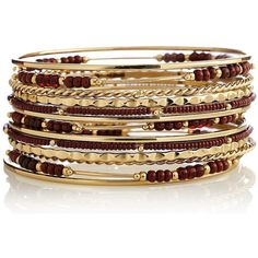 Textured Seed Bead Bangle Set-XL Bracelets (25 BRL) ❤ liked on Polyvore featuring jewelry, bracelets and seed bead jewelry