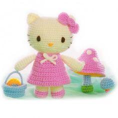 hello kitty crochet doll patterns   Crochet Doll amigurumi Pattern - Hello Kitty with basket   hoolaloop ...