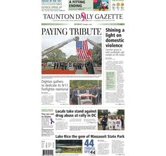 The front page of the Taunton Daily Gazette for Monday, Oct. 5, 2015.