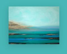 Turquoise Ocean Painting Original Acrylic par OraBirenbaumArt