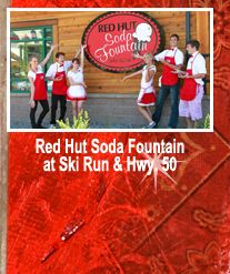 Red Hut Soda Fountain, South Lake Tahoe. This is an awesome restaurant--great food, great service, very reasonable prices.
