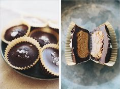 Dark chocolate almond butter cups.