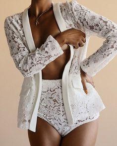 sexy lingerie set  #sleepwear #honeymoon Wedding Night Lingerie, Honeymoon Lingerie, White Lingerie, Lingerie Set, Lace Jacket, Two Pieces, Lace Shorts, Bodysuit, Suits
