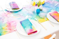 How to Make Easy Watercolor Linens That Won't Wash Out via Brit + Co.