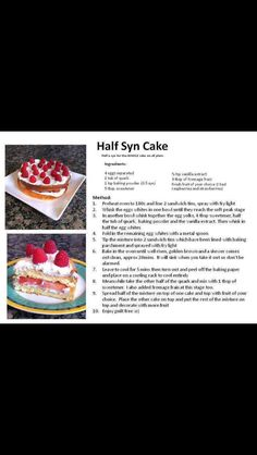 Half syn cake! Slimming world recipe...
