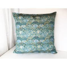 Blue and gold decor pillow cover, Golden brocade pillow case, japanese... ($102) ❤ liked on Polyvore featuring home, home decor, throw pillows, blue home accessories, blue home decor, gold throw pillows, geometric throw pillows and blue throw pillows