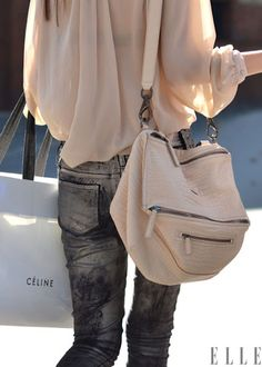 I´m actually not a big fan of this Givenchy bag, but I love her shirt!