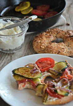 Sautéed Veggie Breakfast Bagel Sandwich | www.mountainmamacooks.com