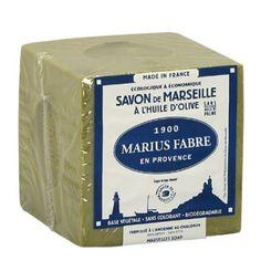Savon de Marseille vert Marius Fabre en cube de 400G.