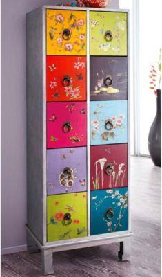 Eine farbenprächtige, original chinesische Kommode aus Holz, mit zehn Schubladen. Auch von innen machen die Schubladen mit chinesischen Buchstaben einen reizvollen Eindruck. http://www.plus.de/p-1145960000?RefID=SOC_pn