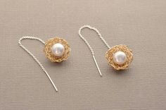 Poppies 14k gold filled wire crochet sterling silver freshwater pearl original design long thread hypoallergenic chain fashion earrings by Wired2BDesired on Etsy