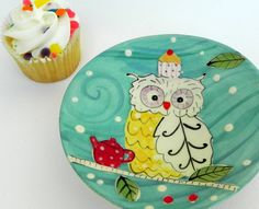 Owl in the Cupcakes Plate. $22.00, via Etsy.