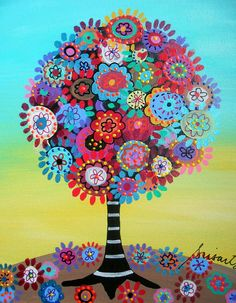 Tree Of Life Painting - by Pristine Cartera Turkus Tree Of Life Painting, Tree Of Life Art, Folk Art Flowers, Flower Art, Mexican Paintings, Owl Paintings, Mexico Art, Tree Artwork, Art Deco Posters