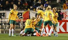 Lisa de Vanna is mobbed by Australia players after opening the scoring at Kincho Stadium in Osaka. Olympic Team, Got Off, Osaka, Matilda, Looking Back, World Cup, Olympic Qualifying, Olympics, Lisa