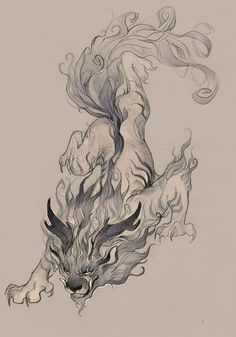 beast by Sawitry Japanese Chinese cloud fire air dragon lion hybrid monster… Japanese Tattoo Art, Japanese Art, Fantasy Creatures, Mythical Creatures, Animal Drawings, Art Drawings, Beast Creature, Fu Dog, Desenho Tattoo