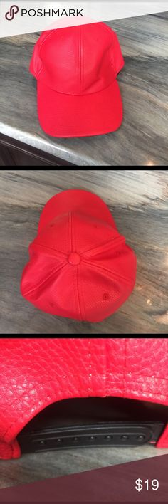 Red LEATHER ball cap So luxe, red genuine leather ball cap with adjustable back. Interior is lined with red felt and a stiff coated muslin to help keep the shoe of the cap. Other