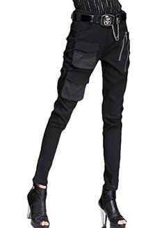 Minibee Women's Harem Patchwork Leather Pocket Punk Style Personalized Pants Black 1 XL Minibee http://www.amazon.com/dp/B019I1UCN6/ref=cm_sw_r_pi_dp_bYG.wb1NRXGKT