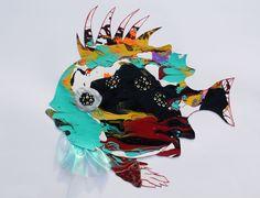 Original LABEDZKI abstract PRINT 5x7 inches glossy print ANGEL FISH #OutsiderArt